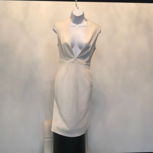 Dresses & Skirts - light cream deep v neck dress
